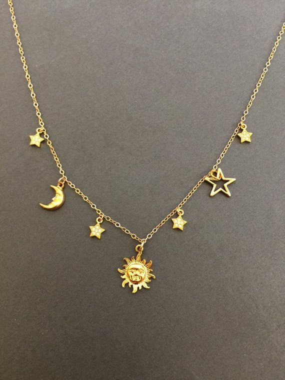 Gold moon and stars necklace Dainty Celestial necklace   Etsy