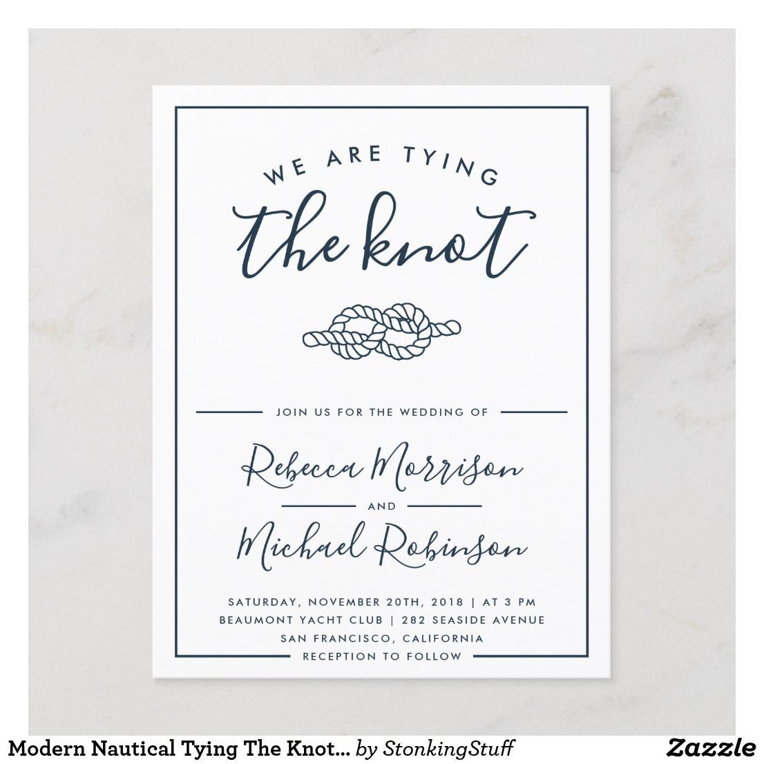 Modern Nautical Tying The Knot Wedding Invitation Postcard Zazzle Com Postcard Wedding Invitation Nautical Wedding Invitations Tie The Knot Wedding