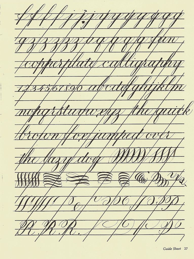 Copperplate practice sheet calligraphy