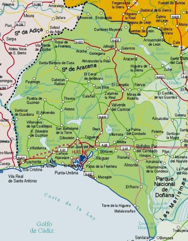 Mapa De Carreteras De La Provincia De Huelva Jpg 600 769 Mapas De Carreteras Andalucia España Mapas