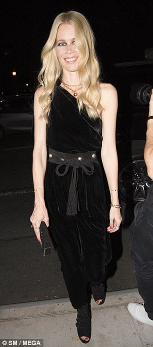 Claudia Schiffer 47 Stuns In Velvet Jumpsuit At Nyc Book Signing Fashion Black Velvet Jumpsuit Kendall Jenner Outfits