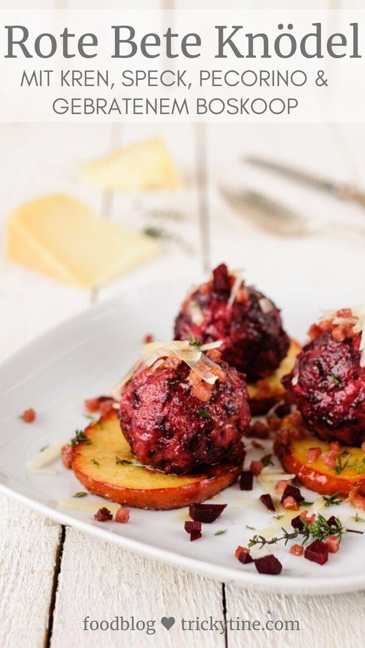 Rote Beete Knödel mit Kren, Speck, Pecorino und gebratenen Thymian Boskoop #herbstgerichte