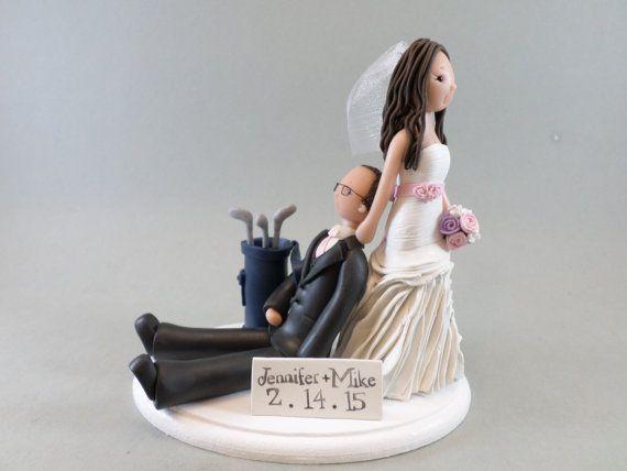 Bride Dragging Groom Golfer Custom Wedding Cake Topper
