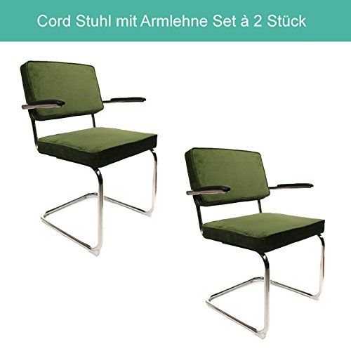 corduroy freischwinger esszimmerst hle set 2 st ck retro cord design mit rostfreiem. Black Bedroom Furniture Sets. Home Design Ideas