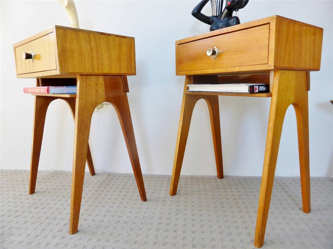 2 x retro atomic mid century eames vintage pair bedside table ...
