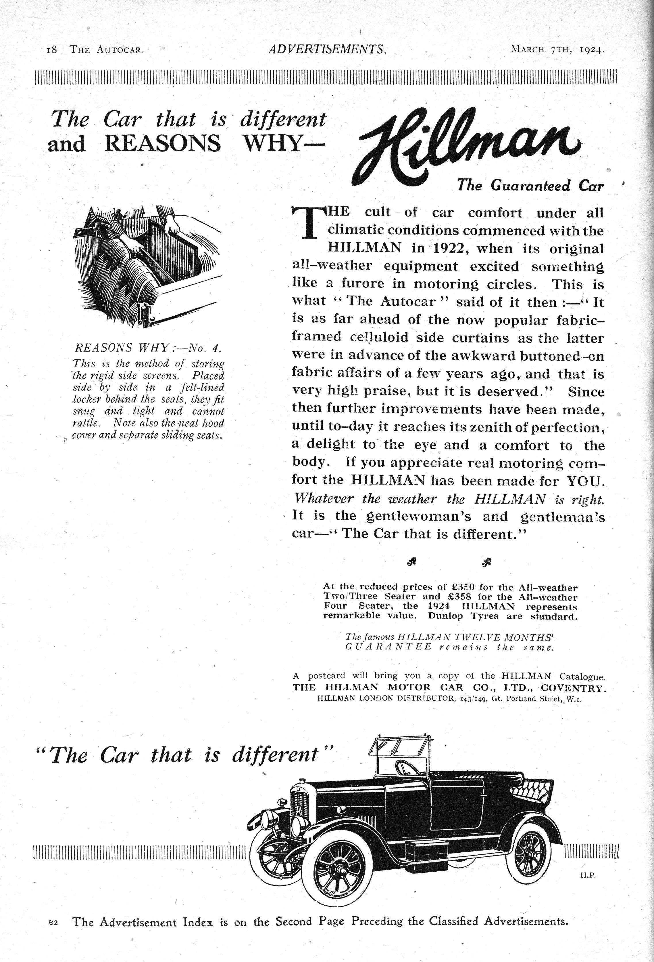 The Cost Of Cars In 1924 - Hillman autocar motor car advert 1924