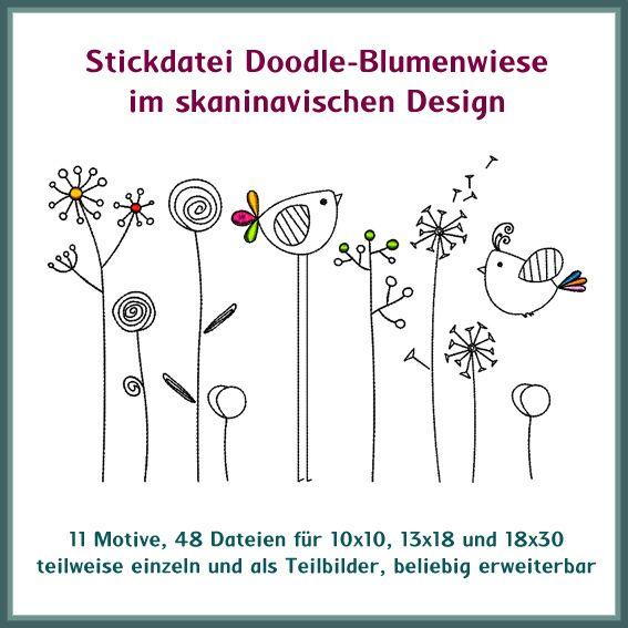 stickdatei blumenwiese doodle skandinavisches design