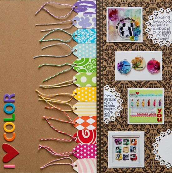 """""""I {Heart} Color"""" scrapbook layout by Stacy Cohen, as seen on Club CK, a free scrapbooking community from Creating Keepsakes magazine."""