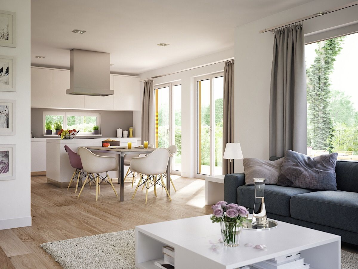 Wohnzimmer Ideen modern mit offener Küche & Essbereich