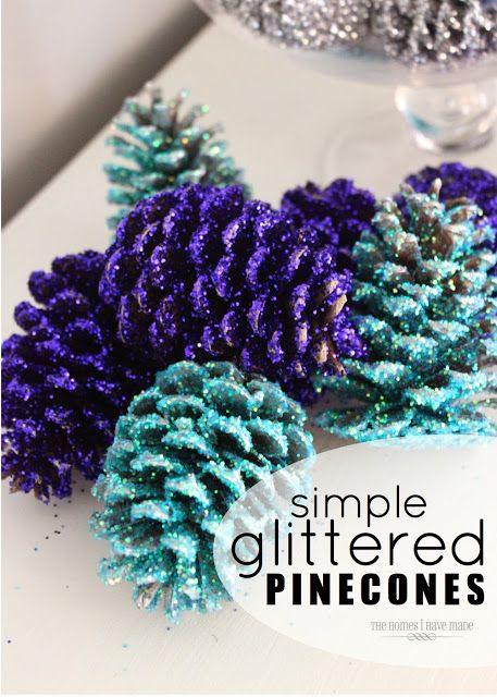 Passo a passo de como fazer enfeites de Natal: Glittered Pinecones