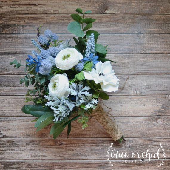White and Light Blue Boho Bouquet with Eucalyptus and ...