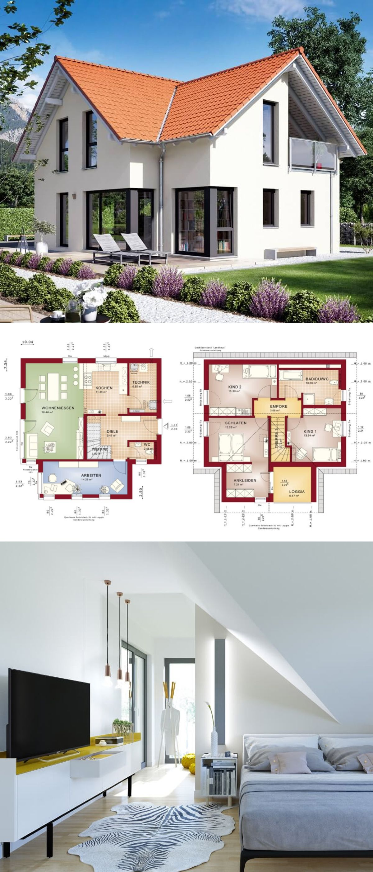 Modernes haus mit satteldach architektur querhaus loggia for Modernes einfamilienhaus grundriss