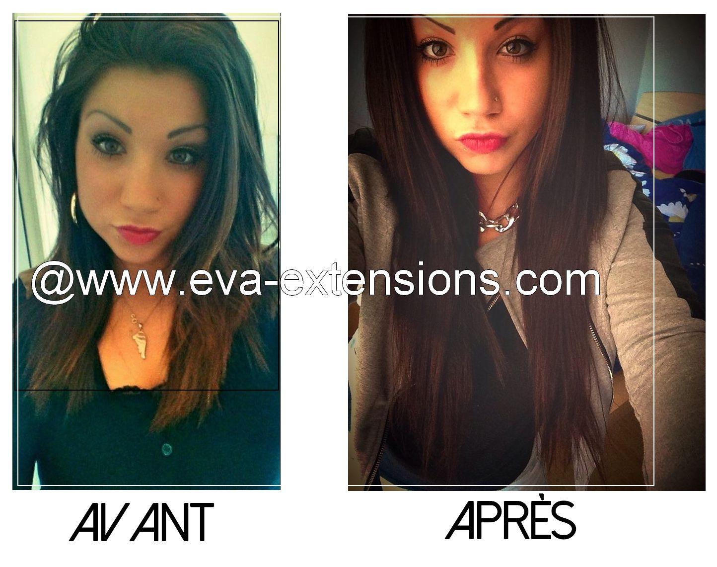 Photo avant/après avec des extensions à clips EVA. Fanny