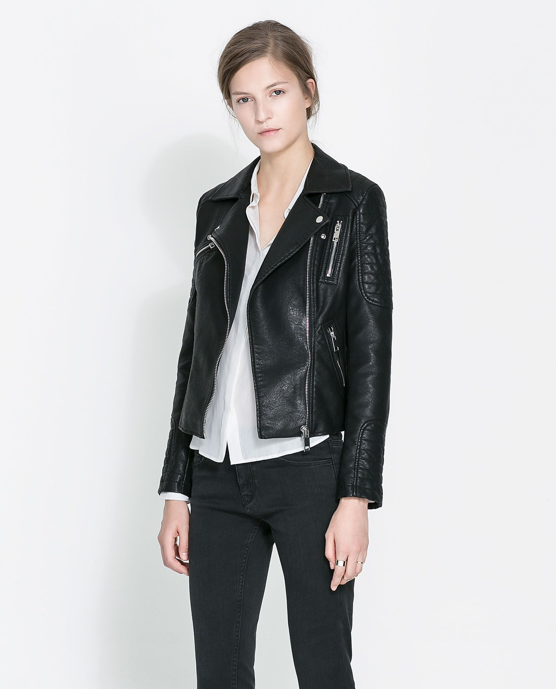 womens leather biker jacket zara