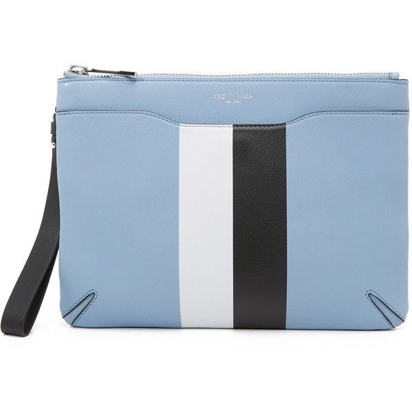 Rag & Bone Zip Clutch ($295) ❤ liked on Polyvore featuring bags, handbags, clutches, light blue, leather handbags, blue leather handbag, leather zip pouch, genuine leather handbags and striped purse