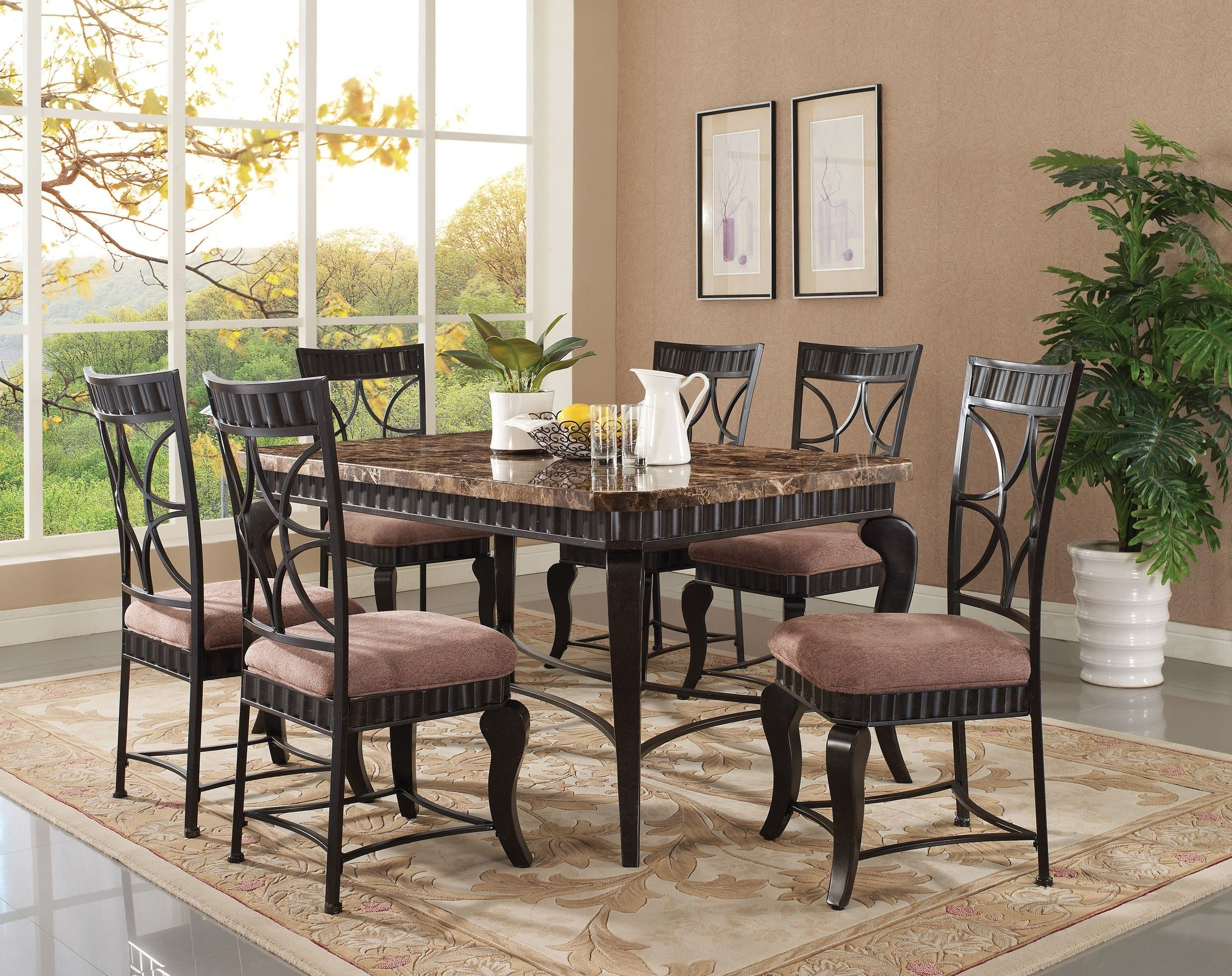 Acme 18289 Galiana 7Pcs Brown Marble Top Dining Table Set  Http Prepossessing Acme Dining Room Set Inspiration