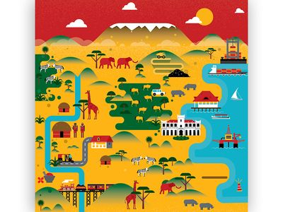 Tanzania Map Illustration Illustrated Map Travel Poster Design