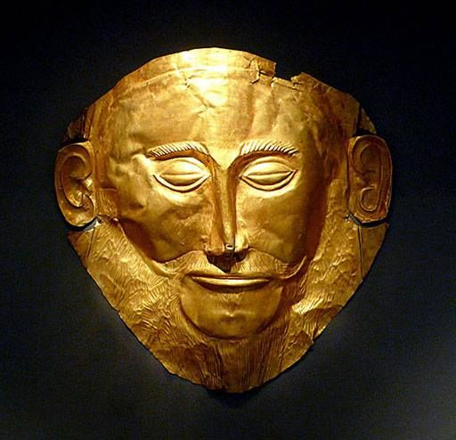 """The """"Mask of Agamemnon"""" is an artifact discovered at Mycenae in 1876 by Heinrich Schliemann. It dates from the mid-16th century BCE. The mask seemingly validates Homer's description of Mycenae as 'rich in gold'. (National Archaeological Museum, Athens).[Original illustration by Xuan Che. Uploaded by Mark Cartwright, published on 18 May 2013 under the following license: Creative Commons: Attribution.]"""