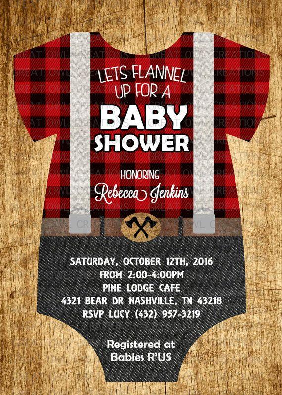 Lumberjack Baby Shower Invitation Buffalo Plaid Rustic