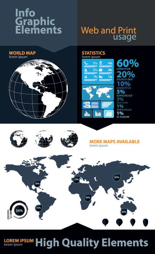 Beautiful graphical workflow world map and pie chart infographic beautiful graphical workflow world map and pie chart infographic design elements info graphicsvector gumiabroncs Images