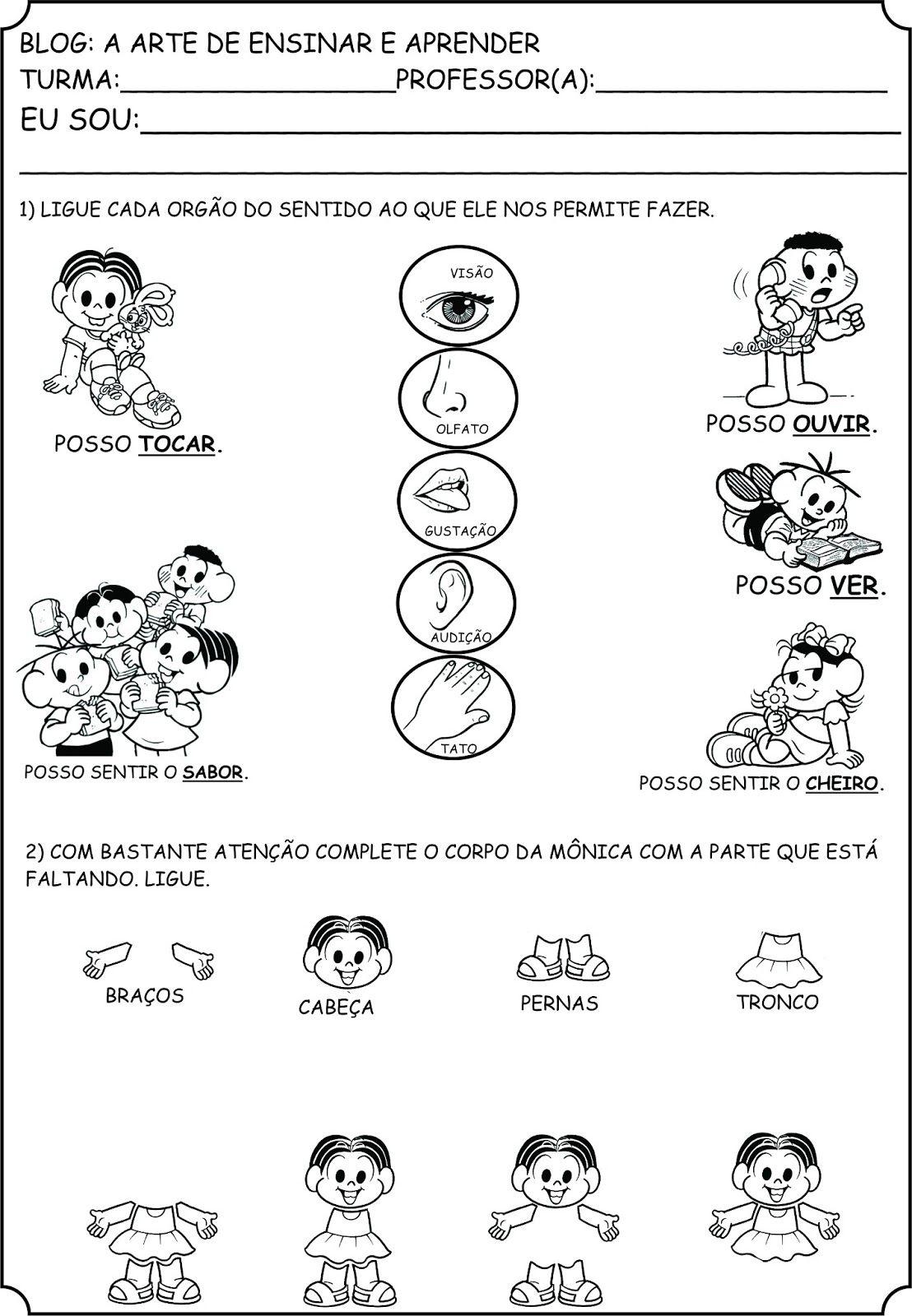A Arte De Ensinar E Aprender Atividades Orgaos Do Sentido E Corpo