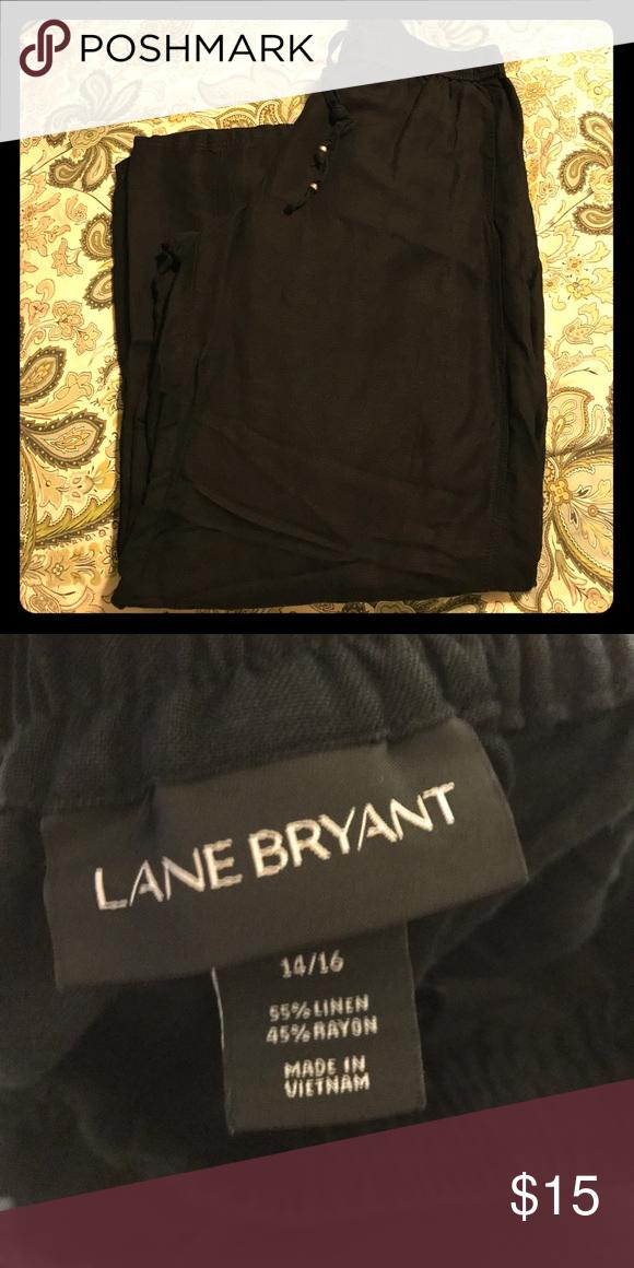 Elastic band black linen pants Size 14/16 drawstring elastic band wide leg linen pants. Excellent condition. Lane Bryant Pants Wide Leg