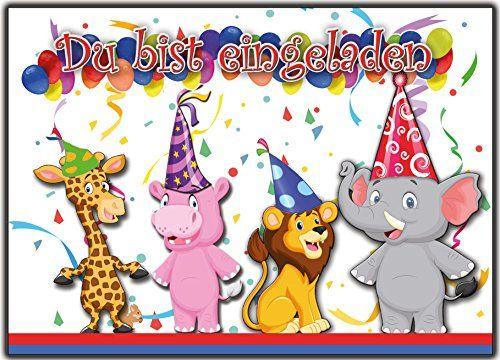 12 Einladungskarten Zum Kindergeburtstag Zoo Tiere