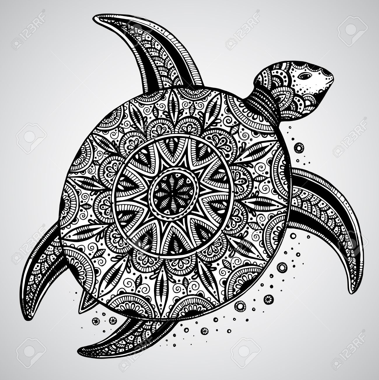 Hand Drawn Vector Monochrome Doodle Turtle Decorated With