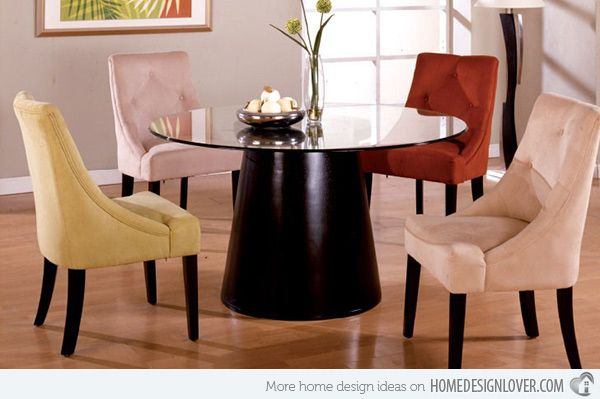 A Burst Of Colors From 20 Dining Sets With Multi Colored Chairs Home Design Lover Glass Round Dining Table Cheap Dining Room Sets Dining Room Sets