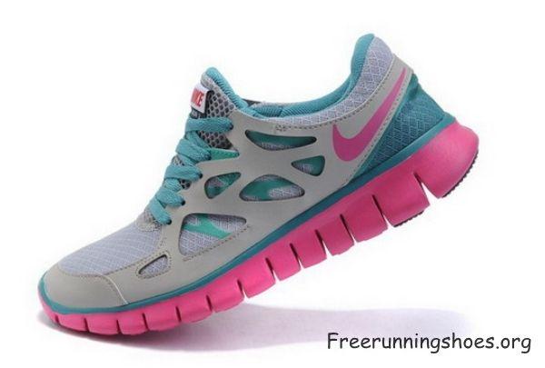 new style 55f0f 4e8fe Femme nike free run 2 chaussures de course rose grise lumière vert