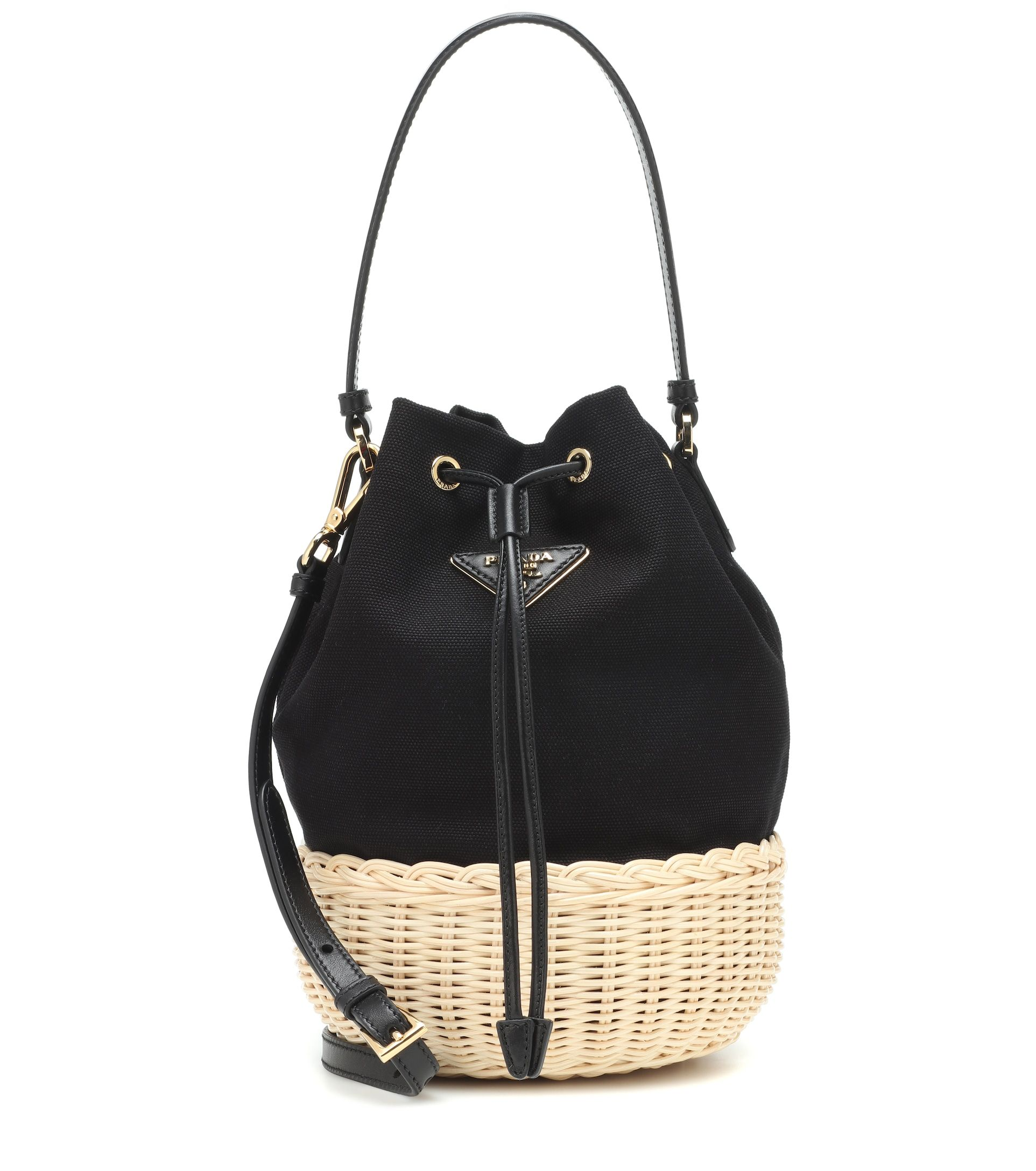 4f0faf0cee Prada - Canvas and wicker bucket bag