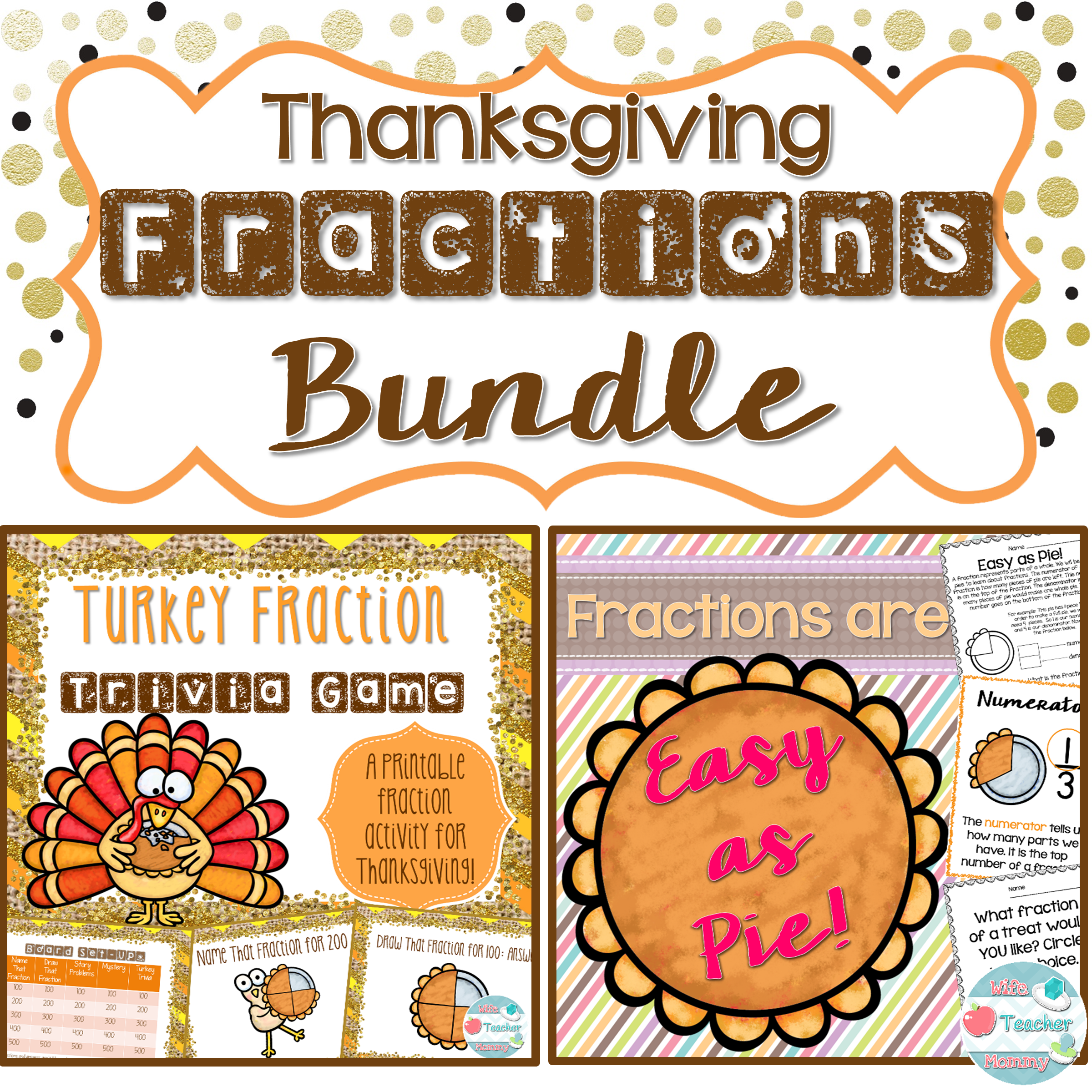 Thanksgiving Fractions Bundle Thanksgiving Fraction Game
