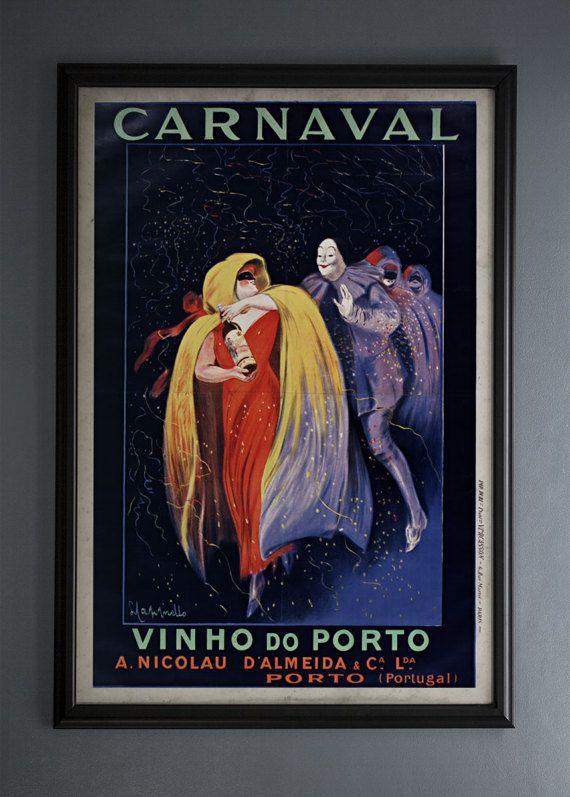 24x36 Carnival Vinho do Porto Cappiello Vintage Poster