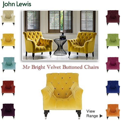 Eye Catching Bright Buttoned Back Velvet Armchairs