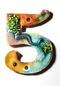house numbers ceramic number five - Decorative House Numbers