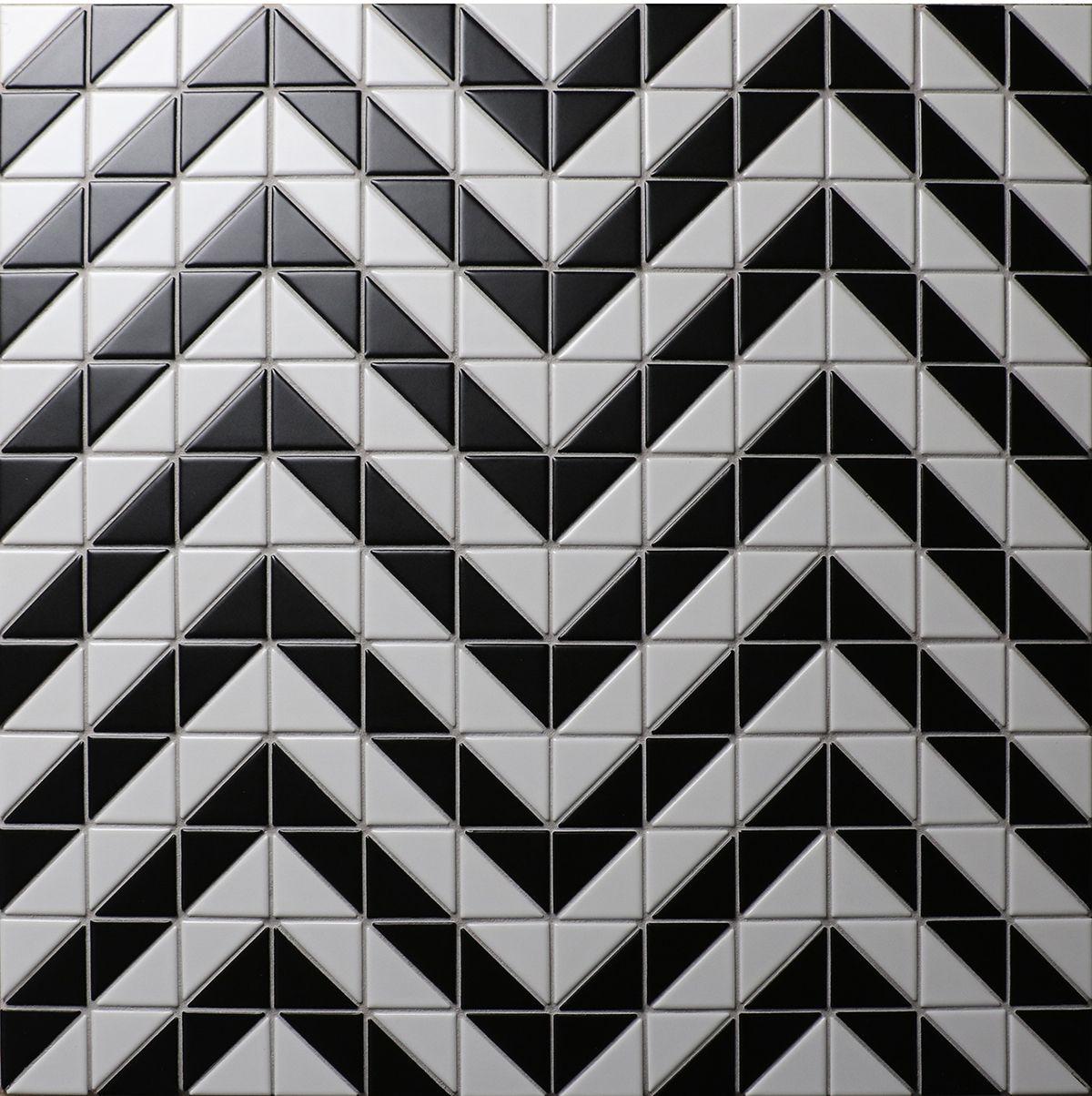 Cheap 2\'\' Matte Black White Triangle Tile Design, Porcelain ...