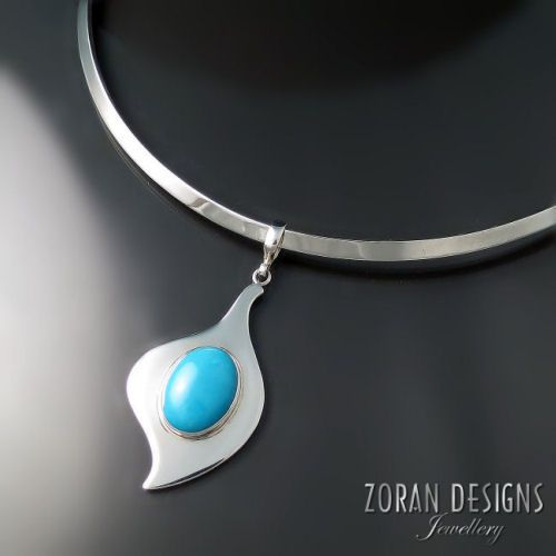Modern Turquoise Jewelry silver pendant with oval cabochon