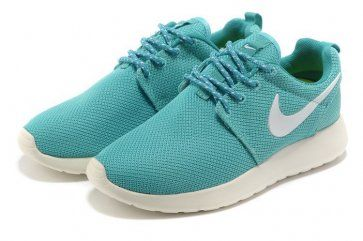 sports shoes f69d7 7769c Nike Roshe Run Womens Light Blue White Mesh Shoes