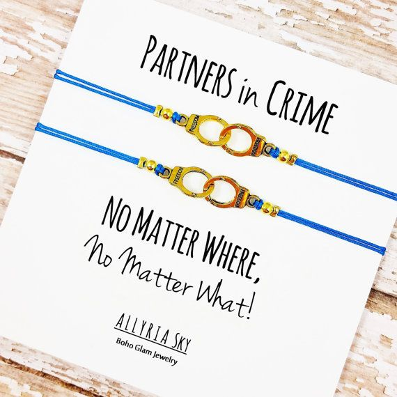 Set of Two Gold or Silver Partners in Crime Handcuff by AllyriaSky