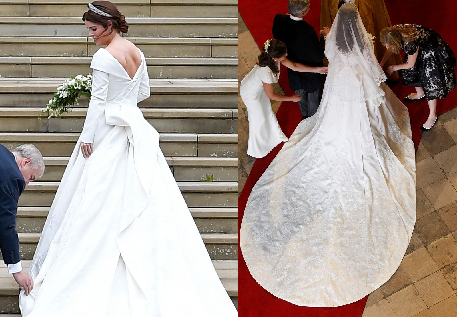 How Princess Eugenie S Wedding Dress Compared To Meghan Markle S And Kate Middleton S Eugenie Wedding Royal Wedding Gowns Royal Wedding Dress [ 1110 x 1600 Pixel ]