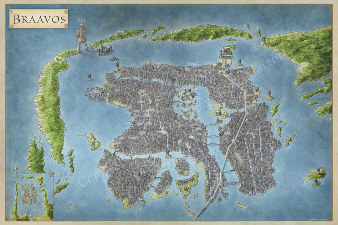 The Free City of Braavos Game of thrones map, Fantasy