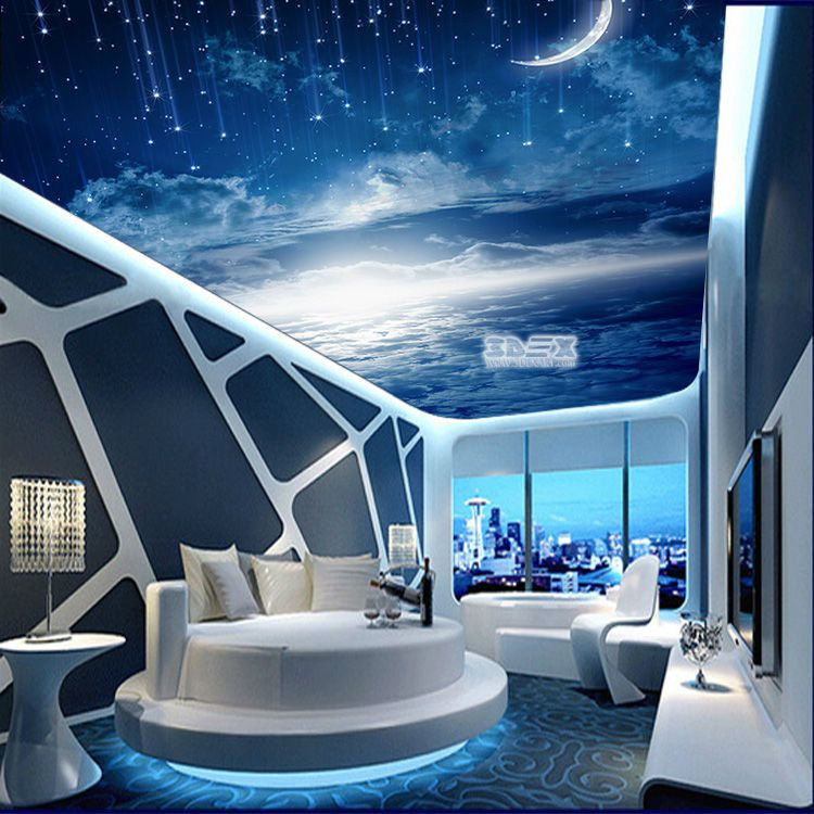 3D ceiling printed image for hi tech bedroom interior ...