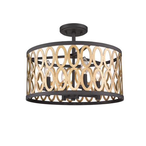 Afton Black And Warm Brass Four Light Flush Mount Gold Light