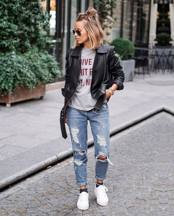 aprenda a combinar calça jeans com jaqueta de couro