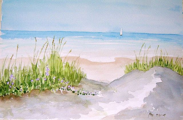 7 3 2009 Water Color The Hampton Beach 001 Beach Watercolor