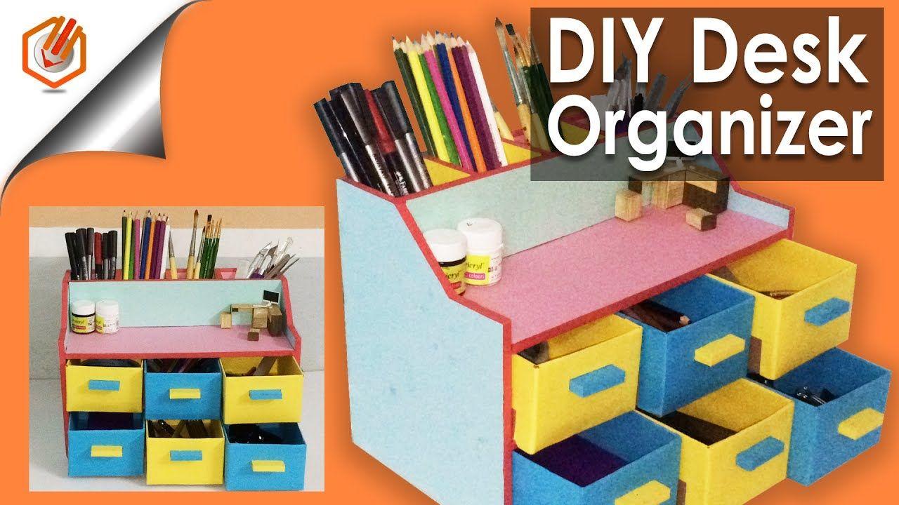 Easy Diy Desk Organizer Drawer Organizer Pencil Holder Desk Organization Diy Diy Pencil Holder Diy Drawer Organizer
