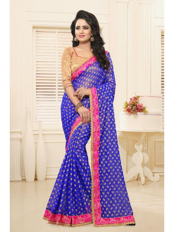Intriguing Shining Admiral Blue And Pink Combination Saree