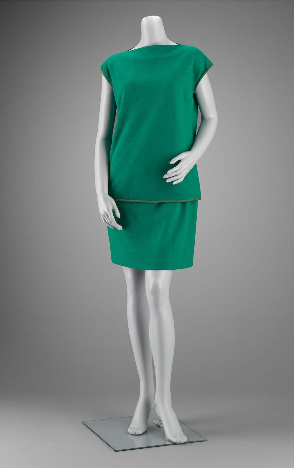 1960s, America - Woman's ensemble by Bonnie Cashin - Wool and mohair twill weave; wool knit; leather; metal buckle; metal fasteners; silk (?) plain weave lining