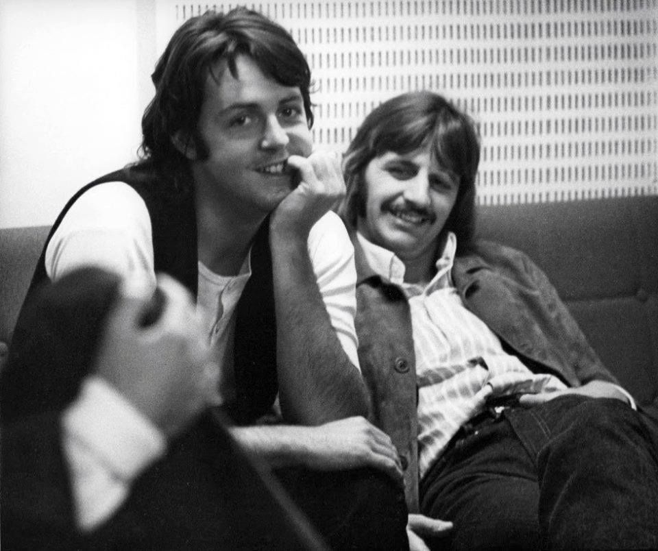Paul and Ringo taking a break during the 'Abbey Road' sessions, 1969
