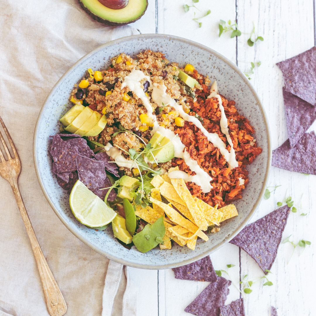 Quinoa Taco Salad Bowl (With Vegan Chorizo!) #tacosalad
